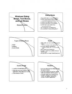 Windows Dialog Boxes, Text Boxes, and List Boxes