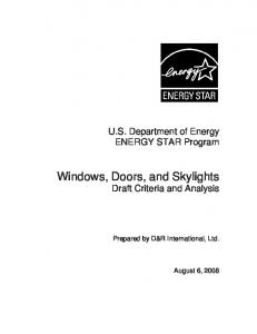 Windows, Doors, and Skylights Draft Criteria and Analysis