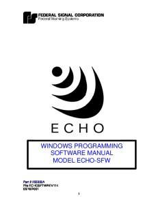 WINDOWS PROGRAMMING SOFTWARE MANUAL MODEL ECHO-SFW