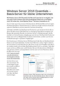 Windows Server 2016 Essentials Basis-Server für kleine Unternehmen