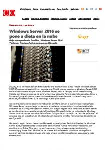 Windows Server 2016 se pone a dieta en la nube
