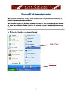 Windows XP wireless network setup