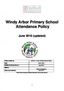 Windy Arbor Primary School Attendance Policy
