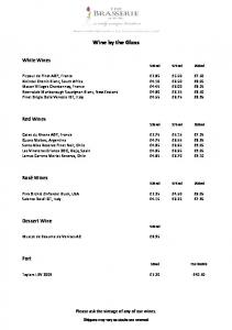 Wine by the Glass. White Wines 125ml 175ml 250ml