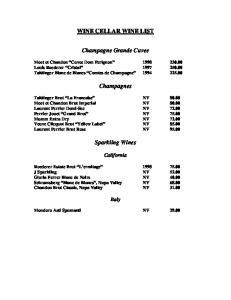 WINE CELLAR WINE LIST. Champagne Grande Cuvee. Champagnes. Sparkling Wines