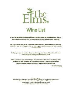 Wine List. - Ernest Hemingway