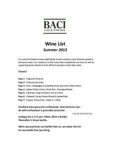 Wine List. Summer 2013