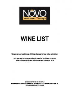 WINE LIST. We are proud recipients of these honors for our wine selection: