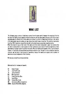 WINE LIST. We hope you enjoy the journey as we have. Abbreviations for reviews and awards