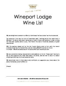 Wineport Lodge Wine List
