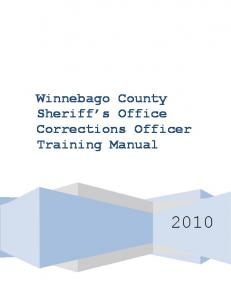 Winnebago County Sheriff s Office Corrections Officer Training Manual
