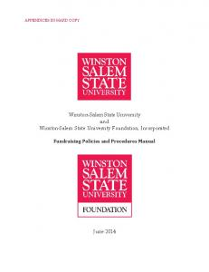 Winston-Salem State University and Winston-Salem State University Foundation, Incorporated. Fundraising Policies and Procedures Manual