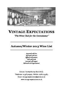 Winter 2013 Wine List