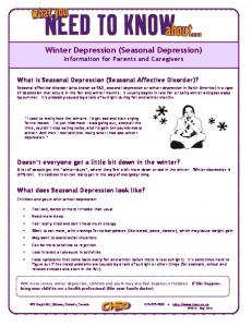 Winter Depression (Seasonal Depression) Information for Parents and Caregivers