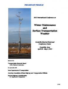 Winter Maintenance and Surface Transportation Weather