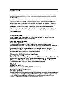 WINTER SCHEDULE OF PUBLIC PROGRAMS