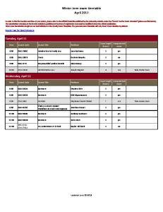 Winter term exam timetable April 2017