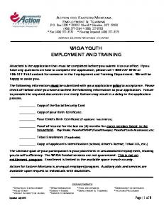 WIOA YOUTH EMPLOYMENT AND TRAINING