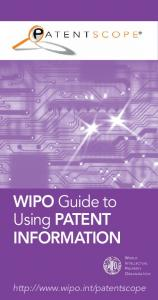 WIPO Guide to Using PATENT INFORMATION WORLD INTELLECTUAL PROPERTY ORGANIZATION