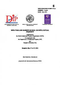 WIPO-THAILAND SUMMER SCHOOL ON INTELLECTUAL PROPERTY