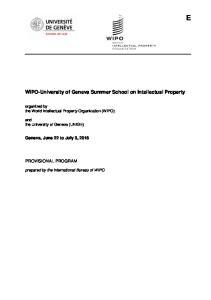 WIPO-University of Geneva Summer School on Intellectual Property