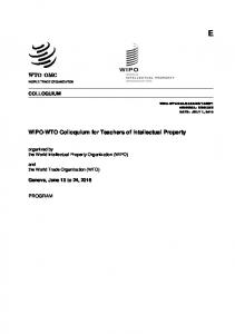 WIPO-WTO Colloquium for Teachers of Intellectual Property