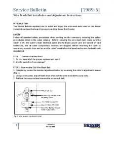 Wire Mesh Belt Installation and Adjustment Instructions