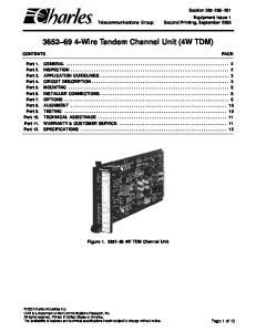 Wire Tandem Channel Unit (4W TDM)
