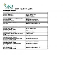 WIRE TRANSFER GUIDE RECEIVING WIRE TRANSFERS