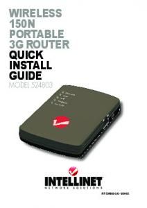 Wireless 150N Portable 3G Router quick install