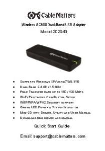 Wireless AC600 Dual-Band USB Adapter Model