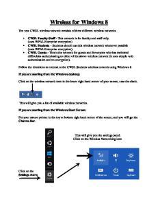 Wireless for Windows 8