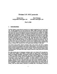 Wireless LAN MAC protocols