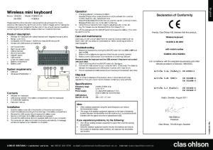 Wireless mini keyboard Art.no Model KG8004-UK KG8004