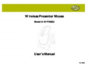 Wireless Presenter Mouse. User s Manual
