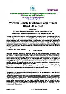 Wireless Remote Intelligent Home System Based On ZigBee