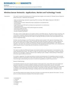 Wireless Sensor Networks - Applications, Market and Technology Trends