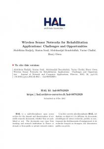 Wireless Sensor Networks for Rehabilitation Applications: Challenges and Opportunities