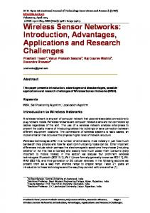Wireless Sensor Networks: Introduction, Advantages, Applications and Research Challenges
