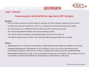 WIRTSCHAFTSAUSBLICK GEORGIEN Ausgabe 3 November 2015