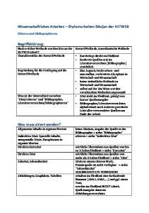 Wissenschaftliches Arbeiten Diplomarbeiten DAs)an der HLTW13