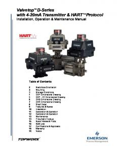 with 4-20mA Transmitter & HART Protocol Installation, Operation & Maintenance Manual