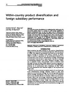 Within-country product diversification and foreign subsidiary performance