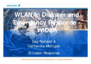 WLAN in Disaster and Emergency Response - WIDER