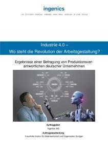 Wo Industrie steht die 4.0 Revolution der Arbeitsgestaltung?