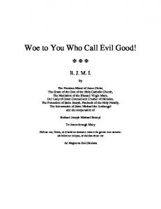 Woe to You Who Call Evil Good!