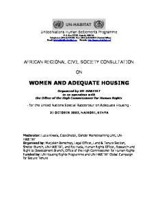WOMEN AND ADEQUATE HOUSING