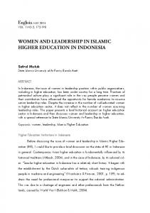 WOMEN AND LEADERSHIP IN ISLAMIC HIGHER EDUCATION IN INDONESIA