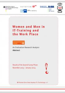 Women and Men in IT-Training and the Work Place