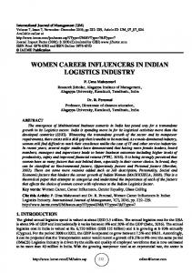 WOMEN CAREER INFLUENCERS IN INDIAN LOGISTICS INDUSTRY